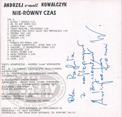 Andrzej Kowalczyk - Autograf